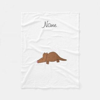 Gepersonaliseerd naamaardvarken fleece deken