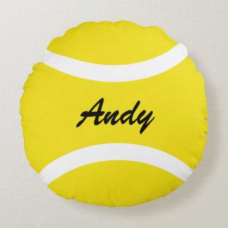 Gepersonaliseerd om gele tennisbal werp rond kussen