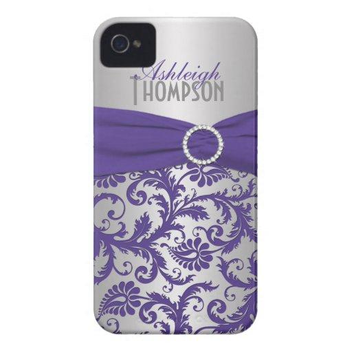 Gepersonaliseerd Paars en Zilveren Damast iPhone 4 Cover