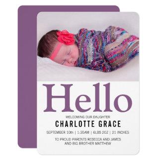 Gepersonaliseerd Paars van het Baby van Hello Kaart