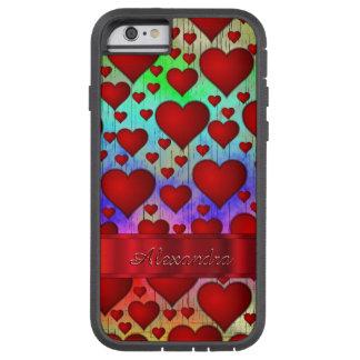 Gepersonaliseerd romantisch hartpatroon tough xtreme iPhone 6 hoesje