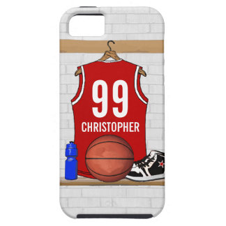Gepersonaliseerd Rood en Wit Basketbal Jersey Tough iPhone 5 Hoesje