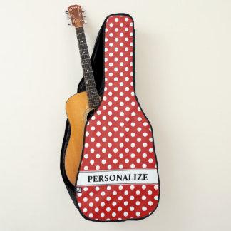 Gepersonaliseerd rood en wit stippenpatroon gitaartas