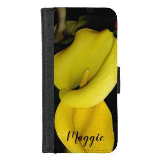 Gepersonaliseerd Twee Gele Calla Lelies iPhone 8/7 Portemonnee Hoesje