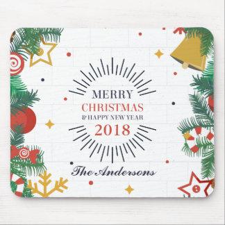 Gepersonaliseerd Vrolijk Kerstmis en Nieuwjaar Muismat