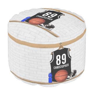Gepersonaliseerd Zwart-wit Basketbal Jersey Poef