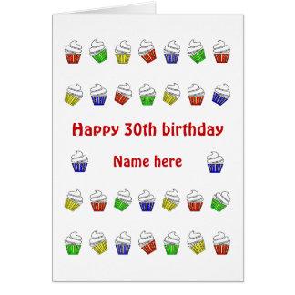Gepersonaliseerde 30ste verjaardags kleurrijke briefkaarten 0