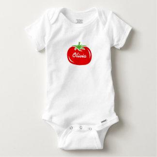 Gepersonaliseerde babykleren met leuke rode tomaat romper