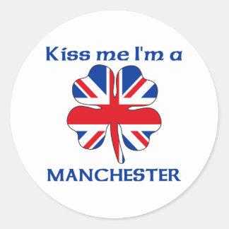 Gepersonaliseerde Brits kust me ik ben Manchester Ronde Stickers