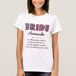 Gepersonaliseerde bruid t shirt