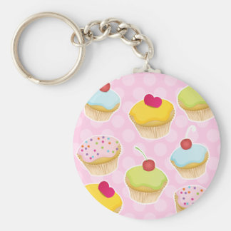 Gepersonaliseerde Cupcakes Basic Ronde Button Sleutelhanger