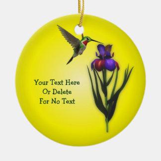 Gepersonaliseerde de Bloem van de kolibrie en van Rond Keramisch Ornament