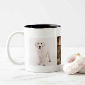 Gepersonaliseerde de foto van het huisdier tweekleurige koffiemok