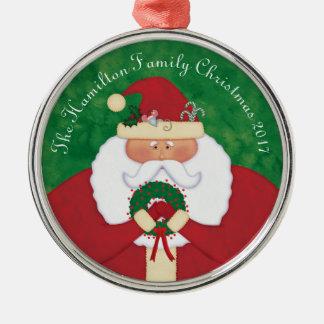 Gepersonaliseerde de Kerstman van de kerstavond Zilverkleurig Rond Ornament