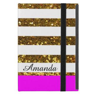 Gepersonaliseerde Glam/de Hete Roze Gouden Strepen iPad Mini Hoesje