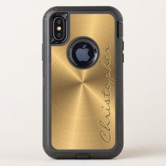 Gepersonaliseerde Gouden Metaal Radiaal van het OtterBox Defender iPhone X Hoesje