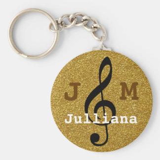 gepersonaliseerde gouden muziekg-sleutel sleutelhanger