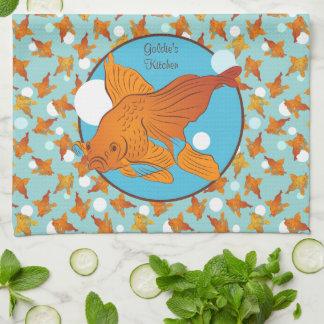 Gepersonaliseerde goudvis en het Grafische Patroon Theedoek