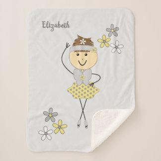 Gepersonaliseerde grijze en gele ballerinadanser sherpa deken