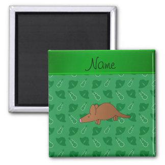 Gepersonaliseerde groene de klokkensneeuwmannen vierkante magneet