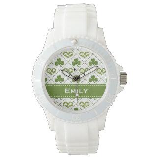 Gepersonaliseerde Groene Klaver en Harten Horloge