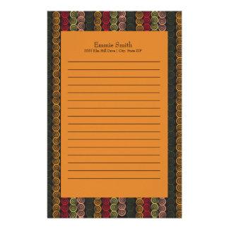 Gepersonaliseerde Groene Oranje Kastanjebruine Briefpapier