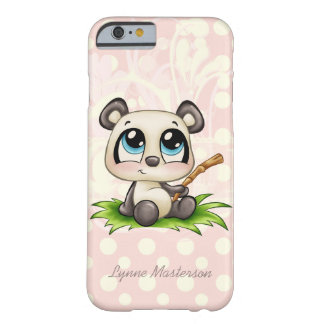 Gepersonaliseerde iPhone 6 van panda roze polkadot Barely There iPhone 6 Hoesje