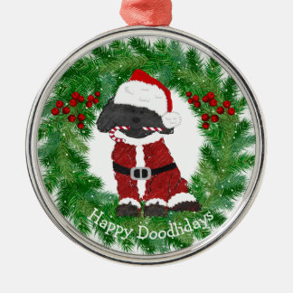 Gepersonaliseerde Kerstmis Labradoodle de Kerstman Zilverkleurig Rond Ornament