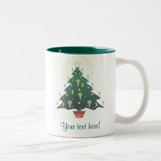 gepersonaliseerde Kerstmisboom - Tweekleurige Koffiemok
