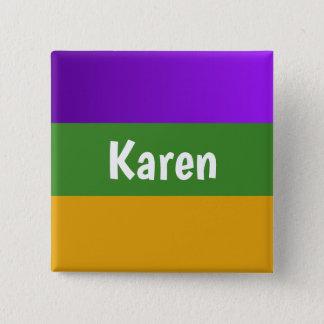 Gepersonaliseerde knoop Mardi Gras Vierkante Button 5,1 Cm