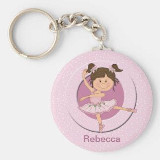 Gepersonaliseerde Leuke Roze Ballerina Basic Ronde Button Sleutelhanger