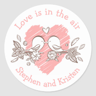 Gepersonaliseerde Liefde van het Hart van Ronde Sticker