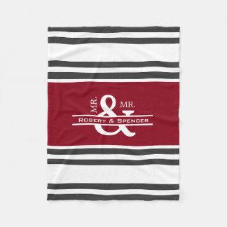 Gepersonaliseerde M. & M. Stripes Fleece Deken