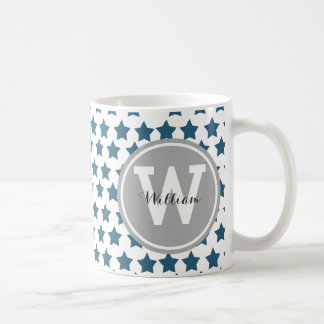 Gepersonaliseerde Marineblauwe Sterren Koffiemok
