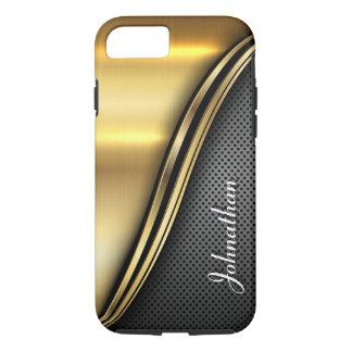 Gepersonaliseerde Metaal Gouden Donkere Golf iPhone 8/7 Hoesje