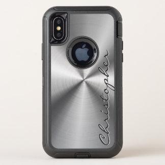 Gepersonaliseerde Metaal Radiaal van het Roestvrij OtterBox Defender iPhone X Hoesje