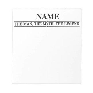 Gepersonaliseerde Naam het Man de Mythe de Legende Notitieblok