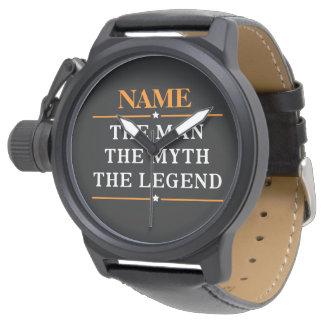 Gepersonaliseerde Naam het Man de Mythe de Legende Polshorloges