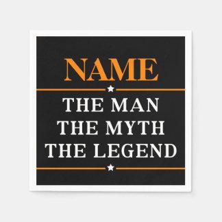 Gepersonaliseerde Naam het Man de Mythe de Legende Wegwerp Servet