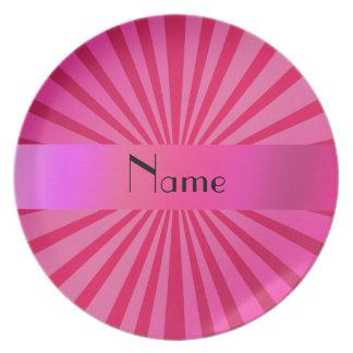 Gepersonaliseerde naam roze zonnestraal melamine+bord