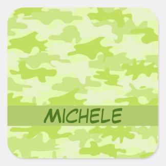 Gepersonaliseerde Naam van de Camouflage Camo van Vierkante Sticker