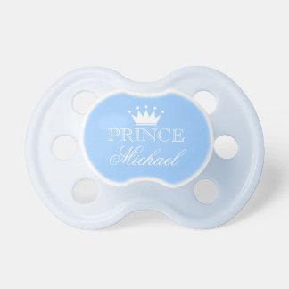 Gepersonaliseerde prinsfopspeen met naam en kroon fopspeentje
