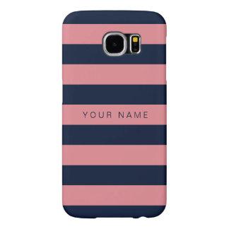 Gepersonaliseerde Roze & Marineblauwe Gestreept Samsung Galaxy S6 Hoesje