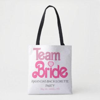 Gepersonaliseerde roze teambruid draagtas