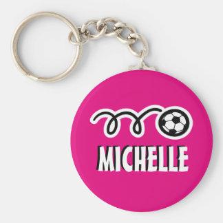 Gepersonaliseerde roze voetbalbal keychain voor sleutelhanger