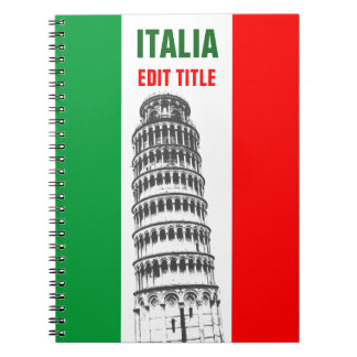 Gepersonaliseerde Toren van Pisa en Italiaanse Ringband Notitieboek