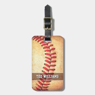 Gepersonaliseerde vintage honkbalbal kofferlabel