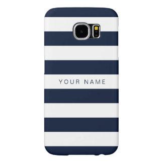 Gepersonaliseerde Witte & Marineblauwe Gestreept Samsung Galaxy S6 Hoesje