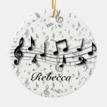 Gepersonaliseerde zwarte en grijze muzieknoten kerst ornamenten