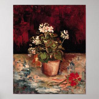 Geraniums in een Fine Art. van de Bloempot Van Poster